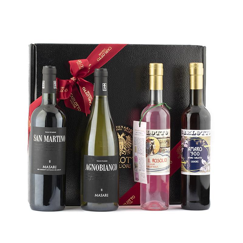Confezione con Amaro '900, Rosolio, San Martino e Agno Bianco Masari